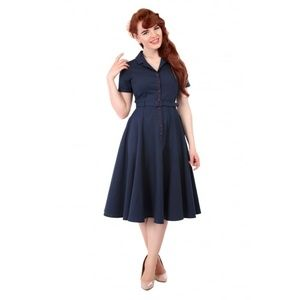 Collectif Vintage Navy Swing dress UK10 modcloth